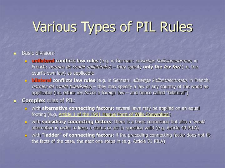 Various types of pil rules