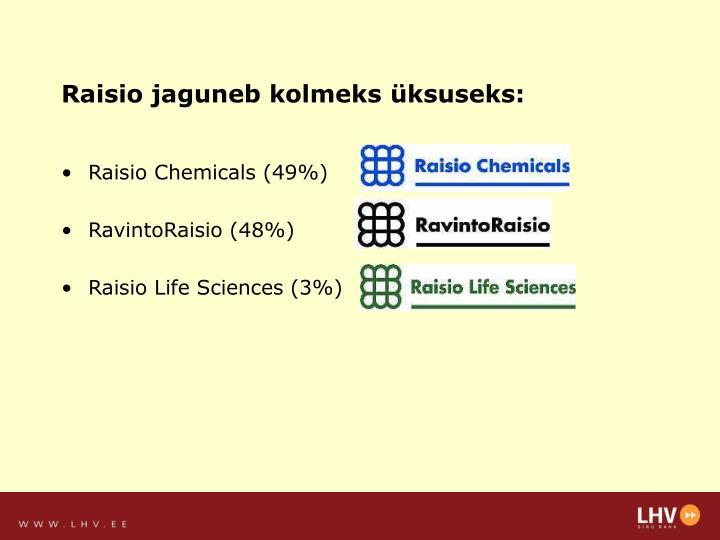Raisio jaguneb kolmeks üksuseks: