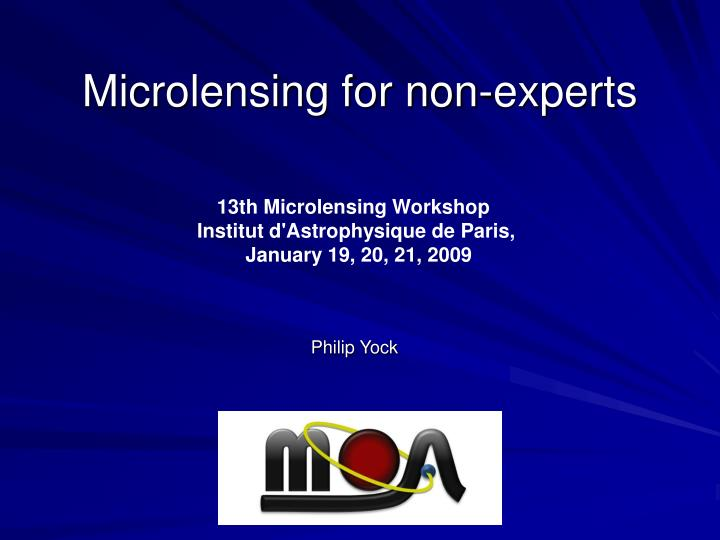 Microlensing for non experts
