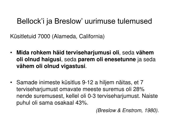 Bellock'i ja Breslow' uurimuse tulemused