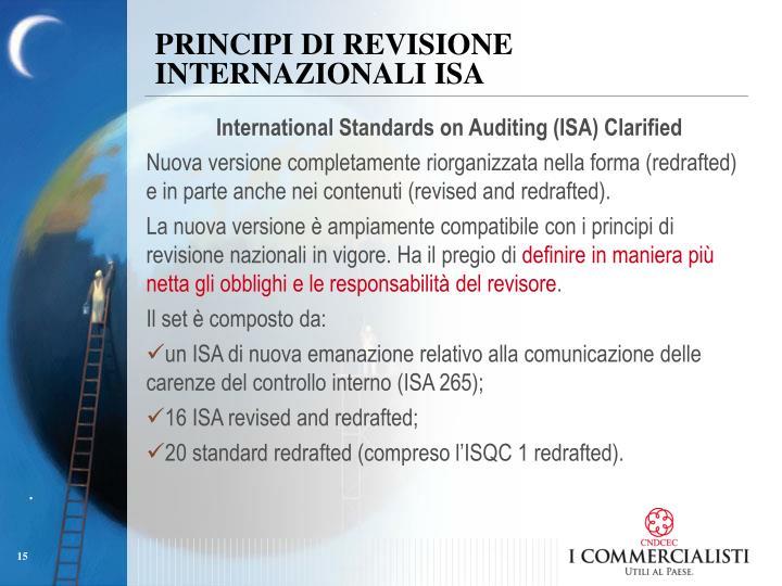 PRINCIPI DI REVISIONE INTERNAZIONALI ISA