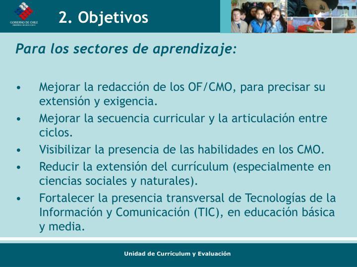 Para los sectores de aprendizaje: