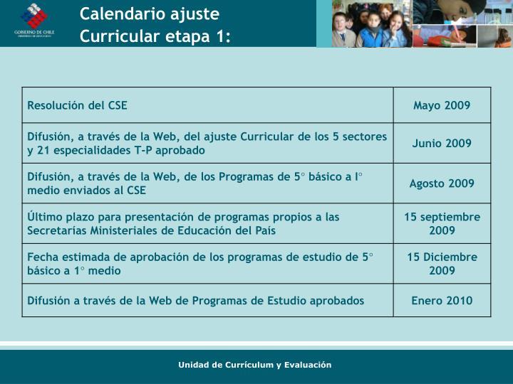 Calendario ajuste