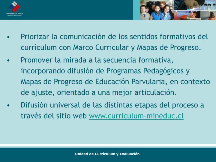 Priorizar la comunicación de los sentidos formativos del currículum con Marco Curricular y Mapas de Progreso.