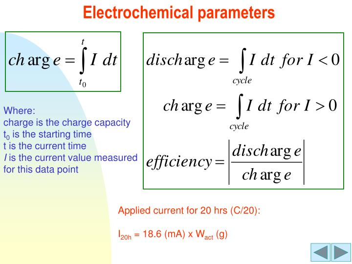 Electrochemical parameters