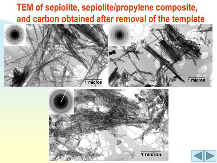 TEM of sepiolite, sepiolite/propylene composite,