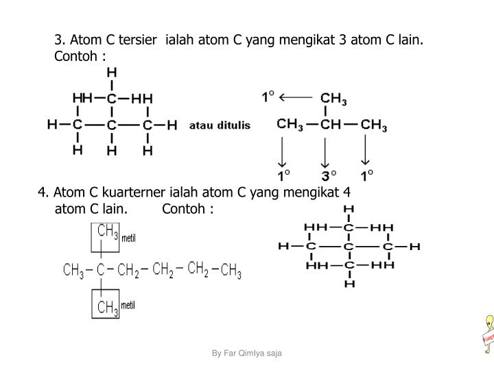 3. Atom C tersier  ialah atom C yang mengikat 3 atom C lain.