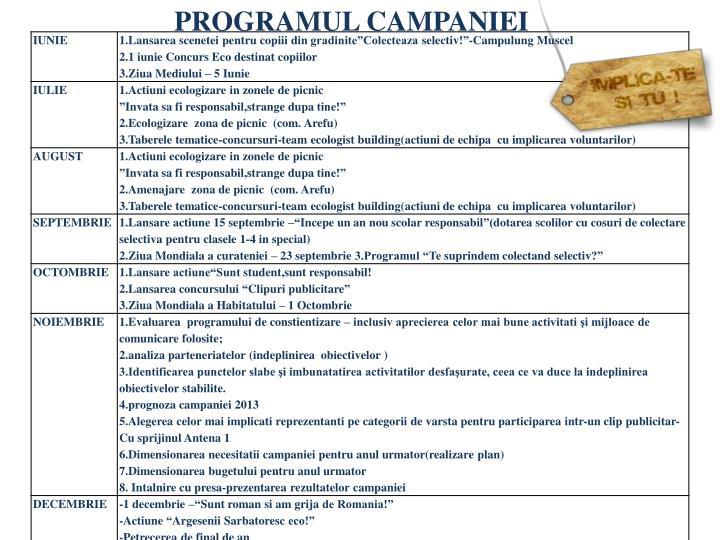 PROGRAMUL CAMPANIEI