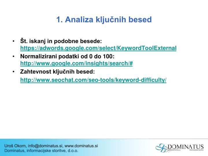 1. Analiza ključnih besed