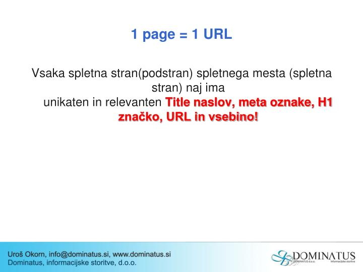 1 page = 1 URL