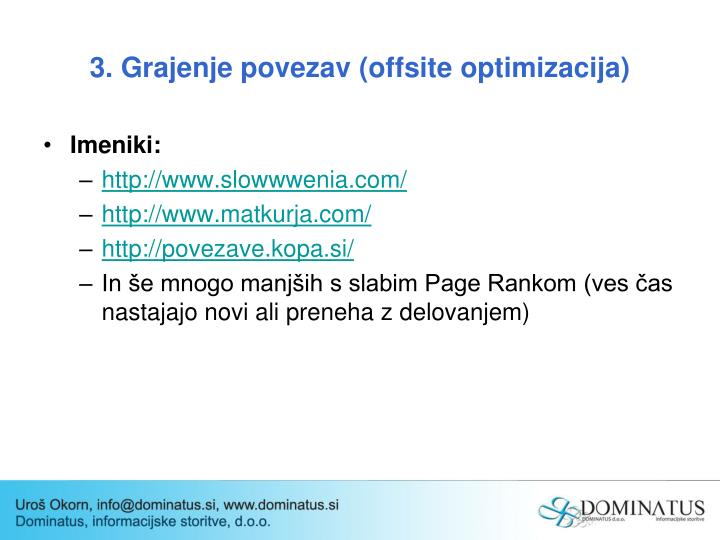 3. Grajenje povezav (offsite optimizacija)