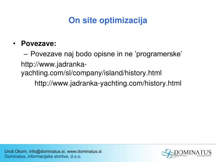 On site optimizacija