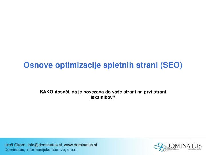 Osnove optimizacije spletnih strani seo