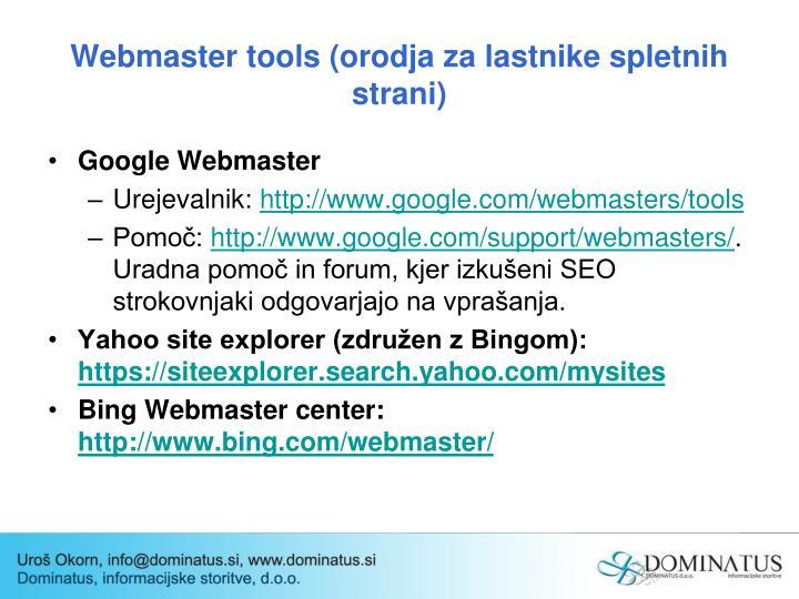 Webmaster tools (orodja za lastnike spletnih strani)