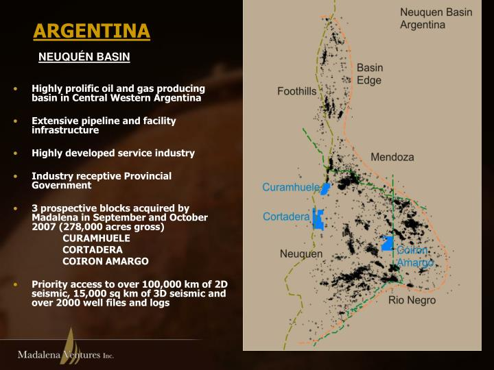 Highly prolific oil and gas producing basin in Central Western Argentina