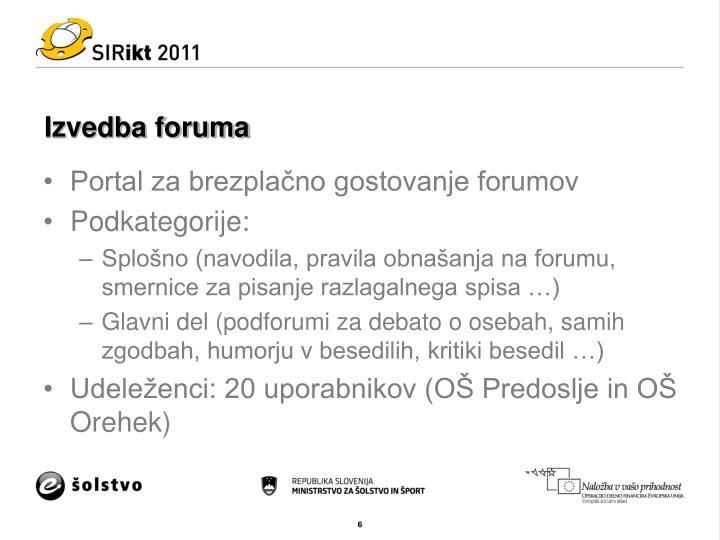 Izvedba foruma