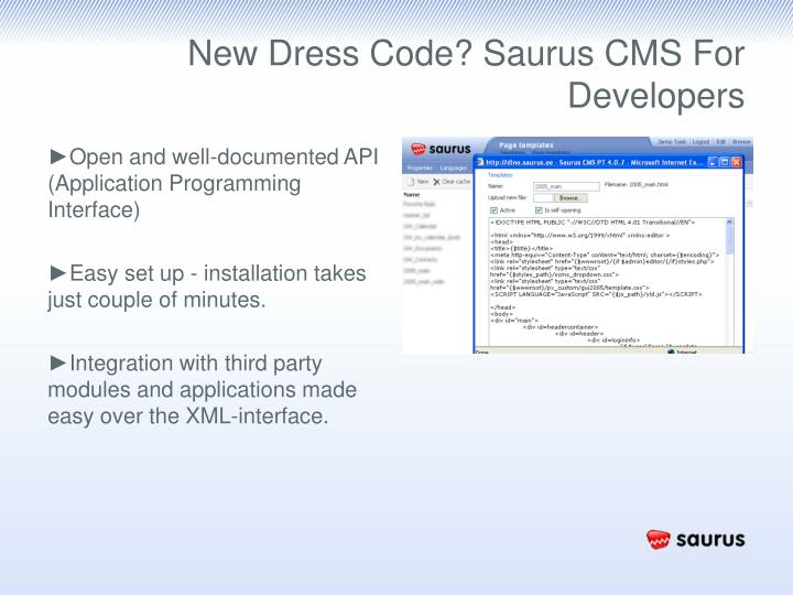 New Dress Code? Saurus CMS For Developers