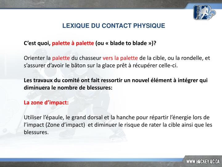 LEXIQUE DU CONTACT PHYSIQUE
