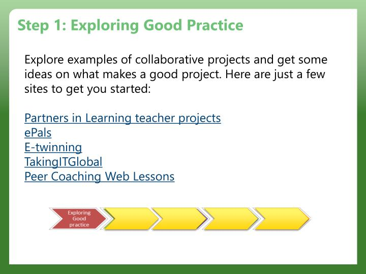 Step 1: Exploring Good Practice