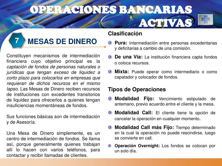 OPERACIONES BANCARIAS ACTIVAS