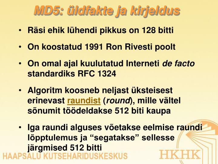 MD5: üldfakte ja kirjeldus