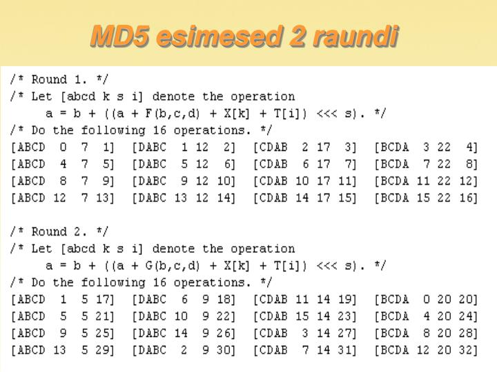 MD5 esimesed 2 raundi