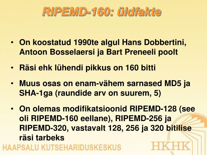 RIPEMD-160: üldfakte