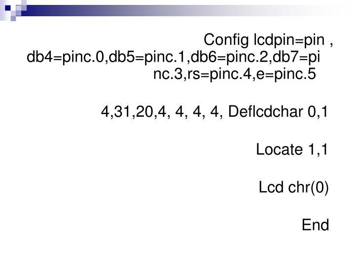 Config lcdpin=pin , db4=pinc.0,db5=pinc.1,db6=pinc.2,db7=pinc.3,rs=pinc.4,e=pinc.5