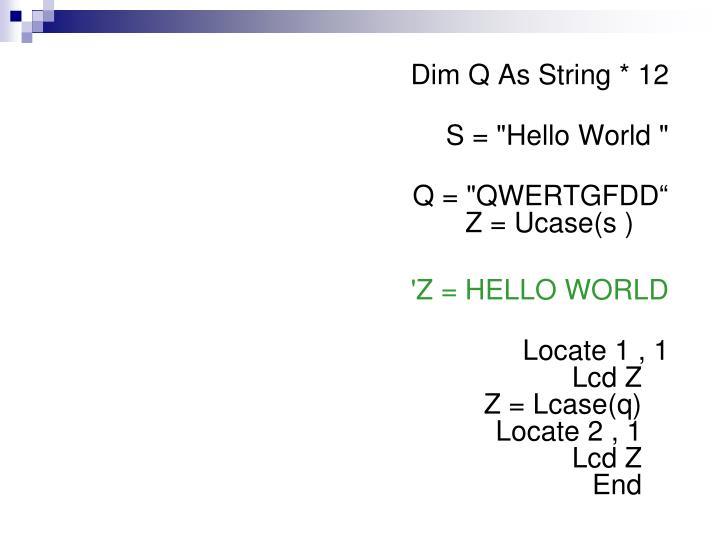 Dim Q As String * 12