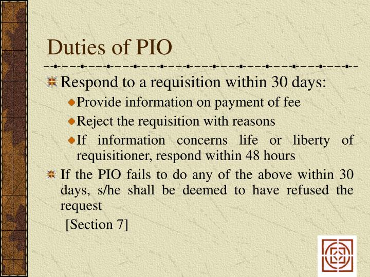 Duties of PIO