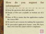 how do you request for information