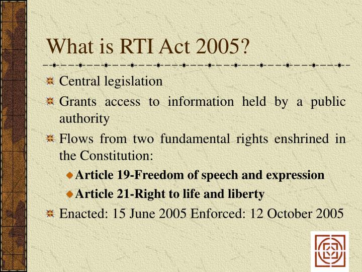 What is rti act 2005