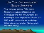 use your communication support networks