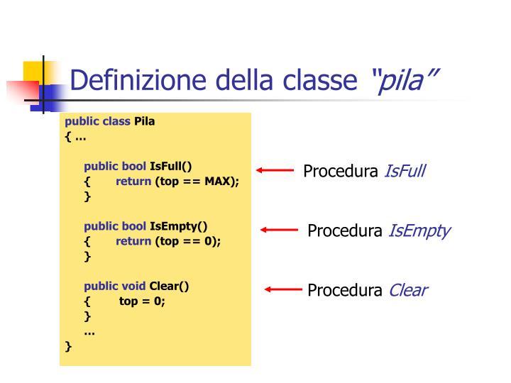 Definizione della classe