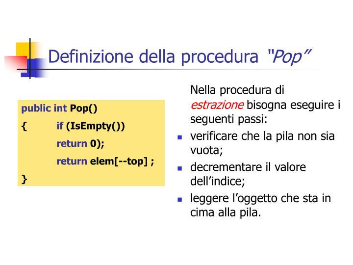 Definizione della procedura