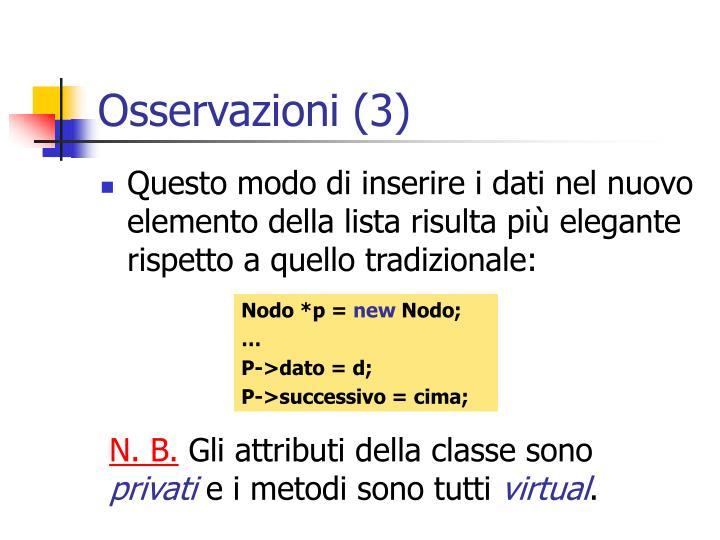 Osservazioni (3)