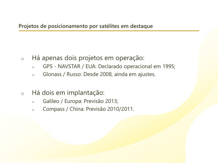 Projetos de posicionamento por satélites em destaque