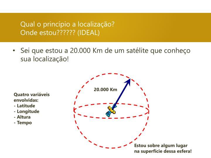 Sei que estou a 20.000 Km de um satélite que conheço sua localização!