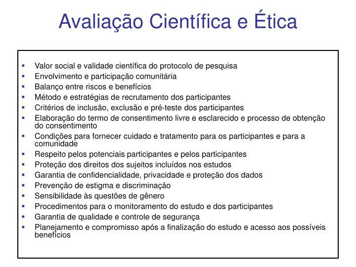 Avaliação Científica e Ética