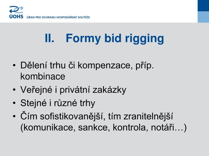 II.Formy bid rigging
