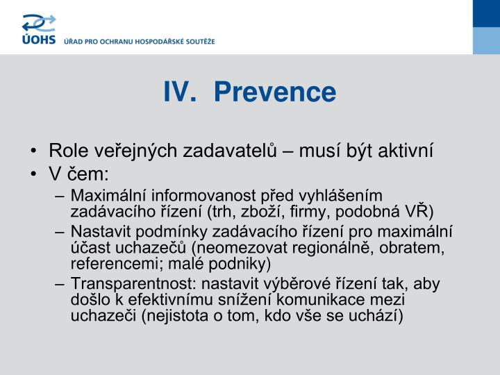 IV.Prevence