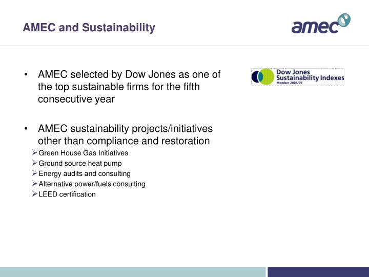 AMEC and Sustainability