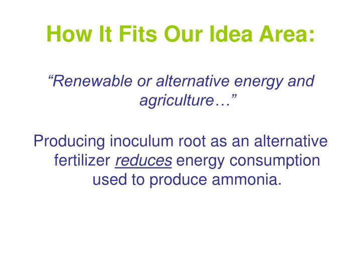 How It Fits Our Idea Area: