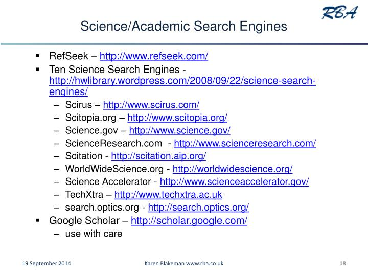 Science/Academic Search Engines