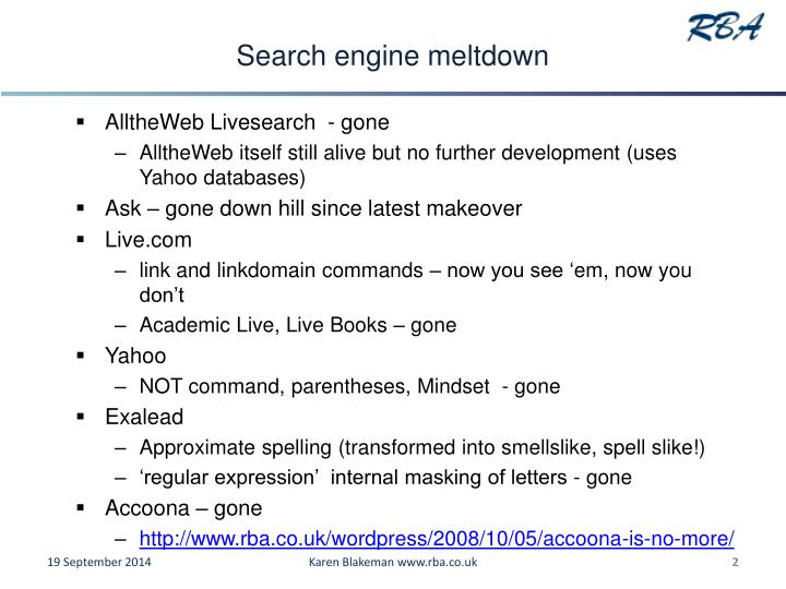Search engine meltdown