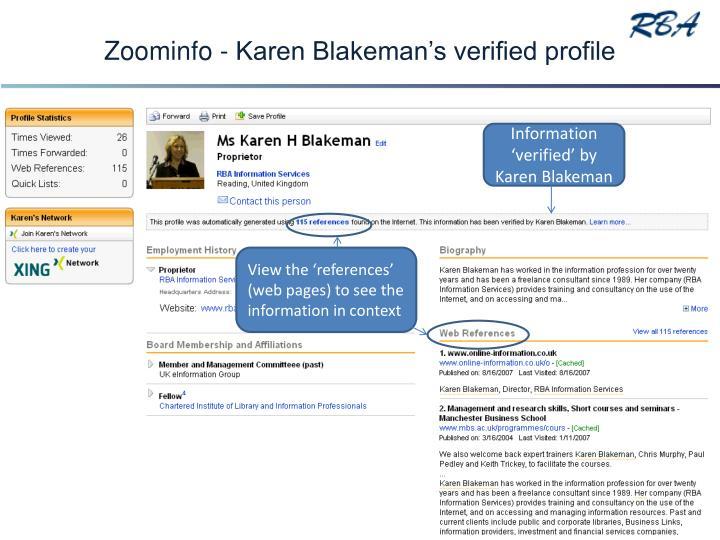 Zoominfo - Karen Blakeman's verified profile