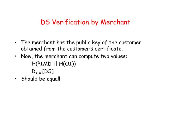 DS Verification by Merchant