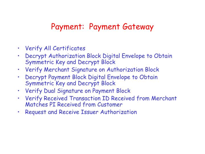Payment:  Payment Gateway