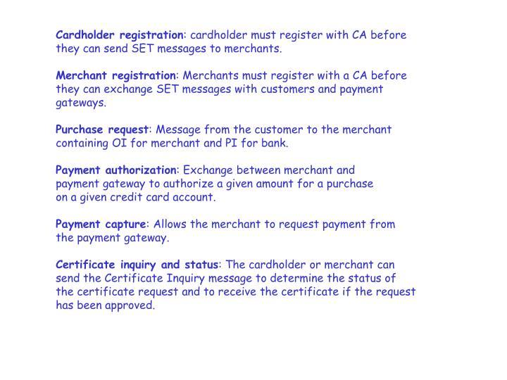 Cardholder registration