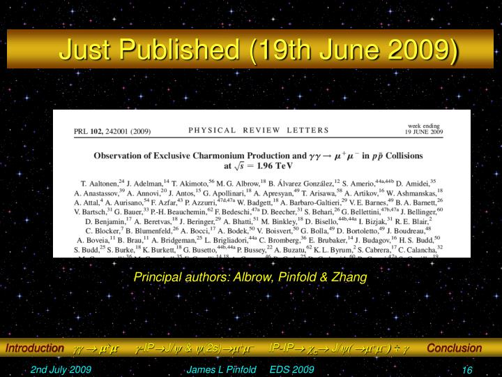 Just Published (19th June 2009)
